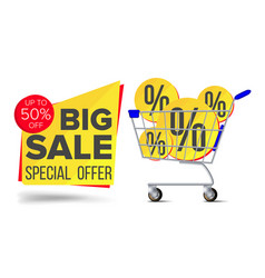 shopping cart sale flyer advertising vector image