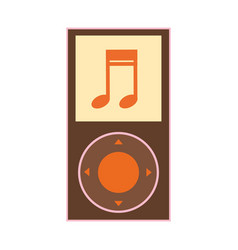 Silhouette color with portable music device vector
