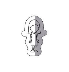 Silhouette woman sticker icon vector