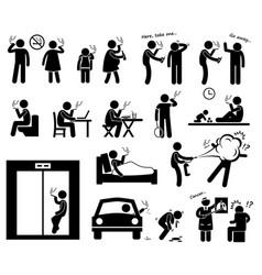 smokers smoking stick figure pictograph icons vector image