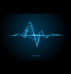 sound wave low poly wireframe banner template vector image