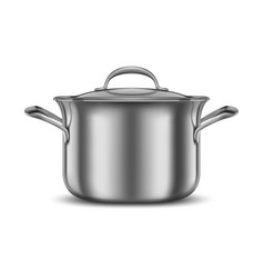stainless steel pan metal cooking pot vector image