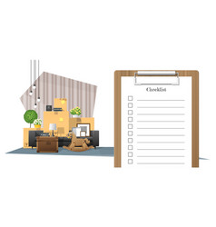 Survey clipboard and pile of furniture background vector