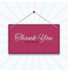 Thank you board on a wall vector