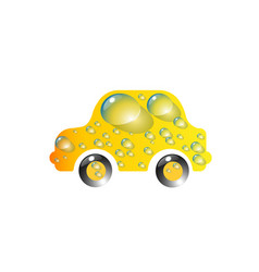 the most top-end toy car yellow color in drops of vector image