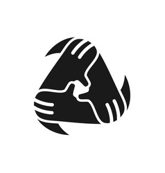 Triangle hand commitment teamwork together black vector