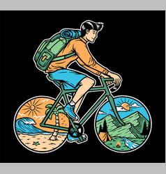 trip to mountain and beach bicycle vector image
