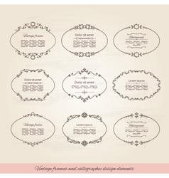 Vintage oval frames set vector image
