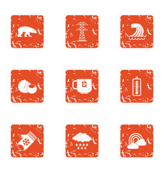Winter attire icons set grunge style vector