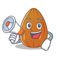 With megaphone almond nut character cartoon vector