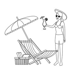 Woman beach hat and cocktail black and white vector