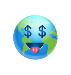 cartoon earth face with dollar sign icon funny vector image vector image