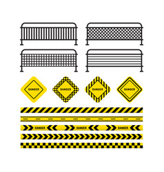 danger tapes danger sign metal fence vector image