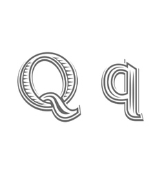 Font tattoo engraving letter q vector