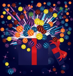 Magic light gift box balls vector image