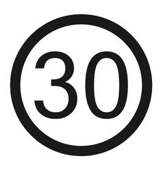 maximum speed limit 30 sign line icon vector image vector image