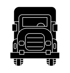 truck front view icon black vector image vector image