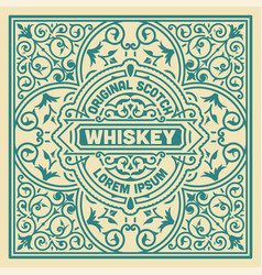 Vintage label design for whiskey vector