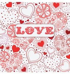 Vintage Love Hearts Pattern vector image