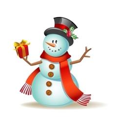Cute cartoon snowman vector image