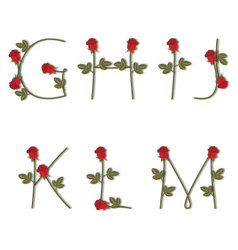 Floral alphabet Red roses with shadow from G to M vector image vector image