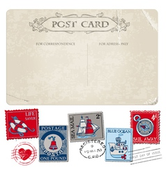 Nautical Postcard and Postage Stamps vector image