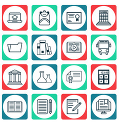set of 16 school icons includes certificate vector image
