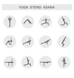 Set of icons Poses yoga asanas vector image