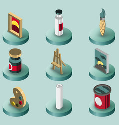 art color isometric icons set vector image