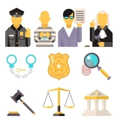 Courthouse Law Icons Set Justice Symbol Concept on vector image vector image