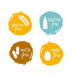 food labels - allergens food intolerance symbols vector image vector image