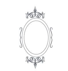 retro oval frame classic ornate element line vector image
