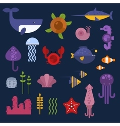 Sea animals set vector image vector image