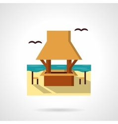 Seacoast cafe-bar flat color design icon vector image