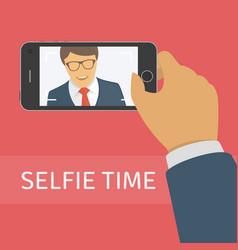 taking selfie photo on smart phone vector image vector image