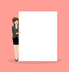 Business woman pointing to the billboard vector image vector image