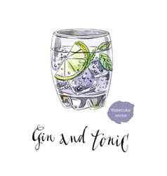 glass of gin and tonic vector image vector image