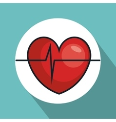 heart with pulse line isolated icon vector image