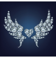 Heart with wings made a lot of diamonds vector image vector image