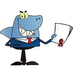 Shark Salesman Holding A Bad Contract vector image