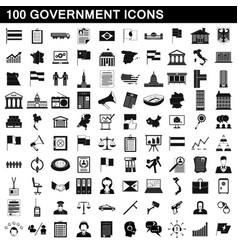 100 government icons set simple style vector