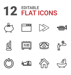 12 button icons vector
