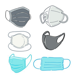 6 types medical mask for different protect vector image