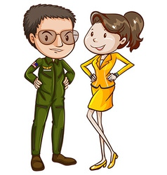 A coloured sketch of a pilot and an air hostess vector