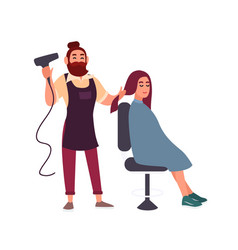 adorable friendly bearded male hairdresser blow vector image