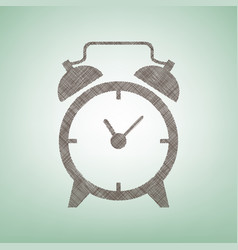 alarm clock sign brown flax icon on green vector image