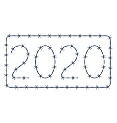 Barbed wire 2020 lettering vector