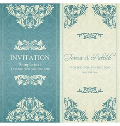 Baroque invitation blue and beige vector