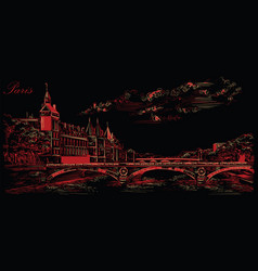 black and red hand drawing paris 5 vector image