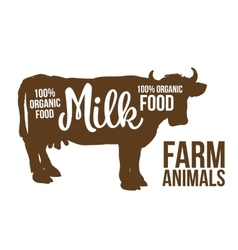 Black Cow with lettering on her body vector image